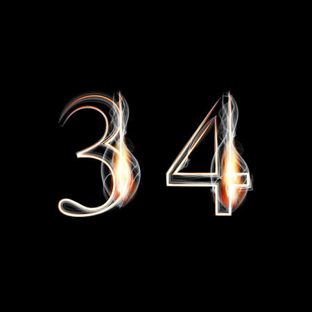 fire font: Fire and Smoke font. Numbers 3 4. Vector illustration.