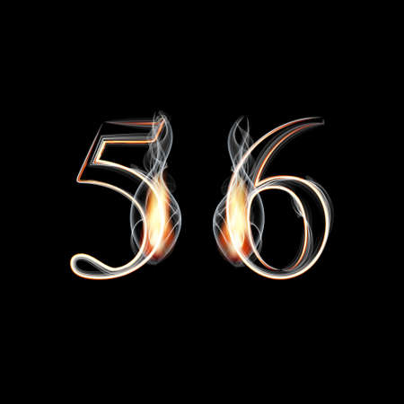 5 6: Fire and Smoke font. Numbers 5 6. Vector illustration.