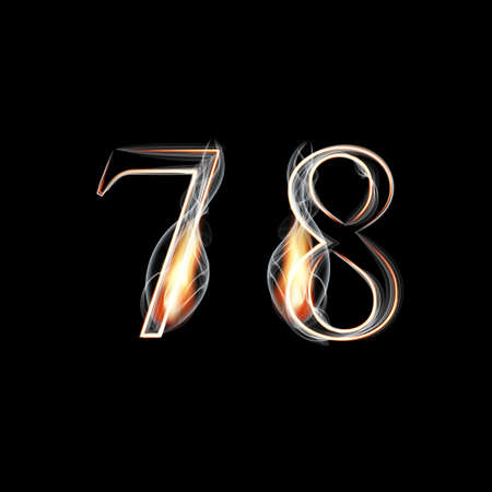 red smoke: Fire and Smoke font. Numbers 7 8. Vector illustration.