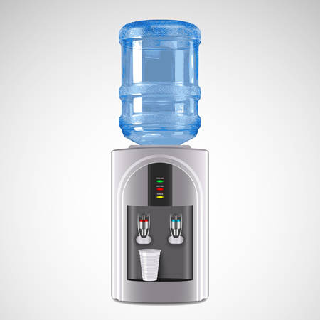 Realistic Electric Water Cooler with plastic glass. Vector Illustration Ilustração