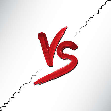 pelea: Versus letras del logotipo. Letras rojas watercolored V y S símbolos. Vectores
