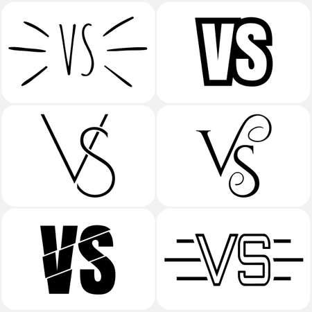duel: Set of versus letters logo. Bkack letters V and S flat style symbol.