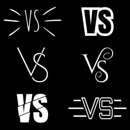 versus: Set of versus letters logo. White letters V and S flat style symbol on black background