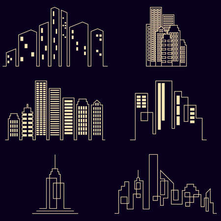 business buildings: Vector city buildings silhouette icons, real estate on black background Illustration