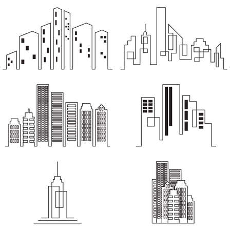 Vector city buildings silhouette icons, real estate on white background