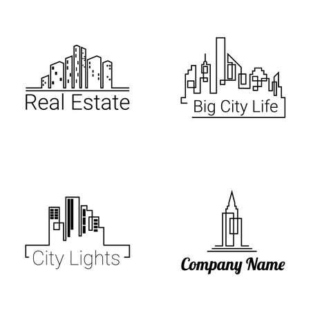 logotipo de construccion: Ciudad de edificios iconos de la silueta del logotipo sobre fondo blanco. Vector