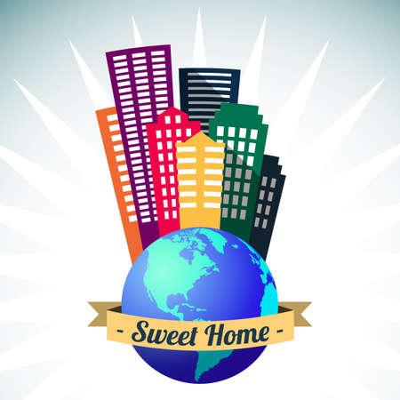 Big world sweet home, city buildings vector illustration