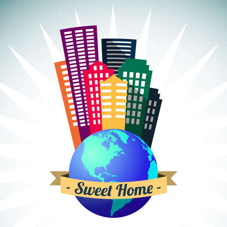 Big world sweet home, city buildings vector illustration