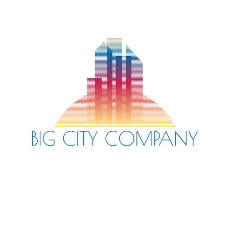 house construction: Vector abstract colorful city, building composition sign, icon, logo isolated
