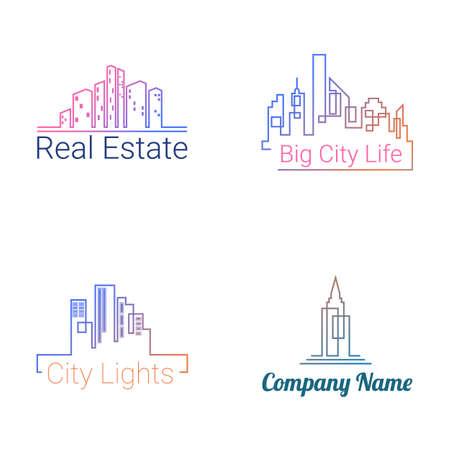 Stadsgebouwen logo gekleurde silhouet iconen op een witte achtergrond. Vector