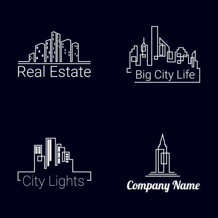 city  buildings: City buildings white logo silhouette icons on black background. Vector Stock Photo