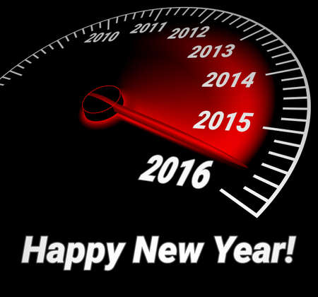 prospects: Realistic illustration of speedometer with the date of year. 2016 Happy New Year