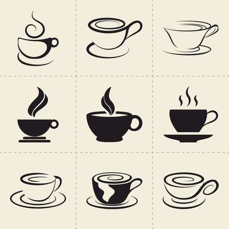 Coffee icons set Çizim