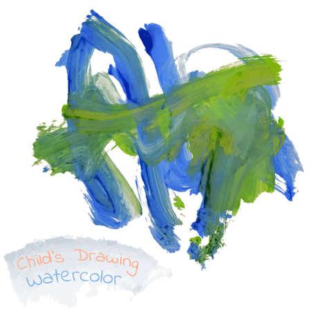 Childs Zeichnung abstrakten Tier Elefant Aquarell Vektor