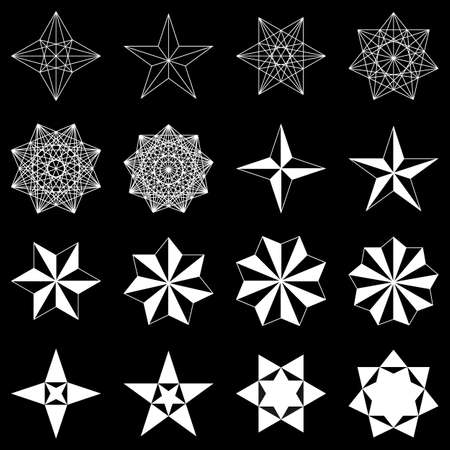 caption: Collection of geometric stars. White shapes on black background. Vector
