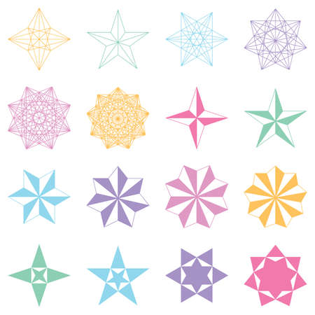 primer: Collection of geometric stars. Colored shapes on white background. Vector