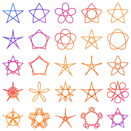 Collection of geometric stars. Colored shapes on white background. Vector