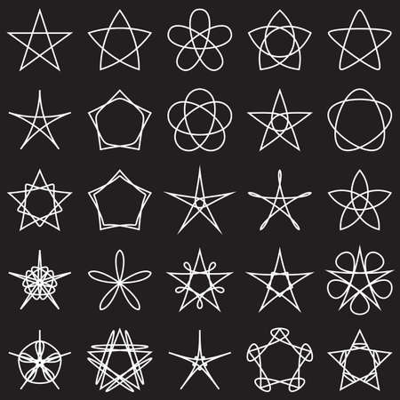 graphic background: Collection of geometric stars. White shapes on black background. Vector