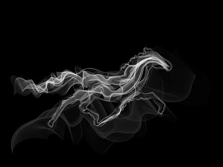 Running white horse smoke silhouette on black backgound vector Vectores