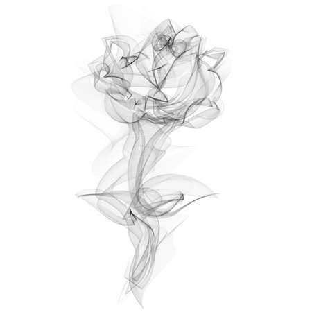 humo: Realista Smokey silueta de Rose aislado en blanco ilustración vectorial