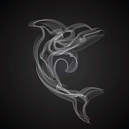 Dolfijn rook vector silhouet op een zwarte achtergrond.