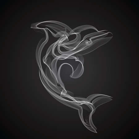 Dolphin smoke vector silhouette on black background.