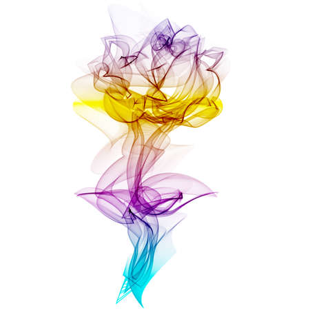 colored smoke: Realistic Smokey Multicolored Rose Silhouette Isolated  Vector illustration