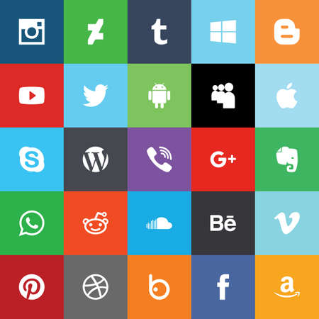 network and media: Social network media flat icons. Vector illustrasion