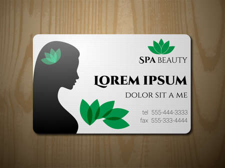 salon treatment: Business card, cutaway card for SPA salon. Vector Illustration