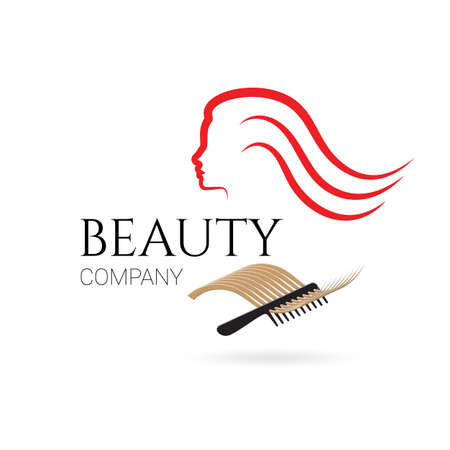 brands: Logo for beauty salon, company with female face, hair and comb. Vector