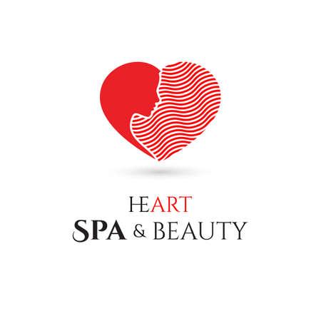 schönheit: Spa und Beauty Firmenlogo mit Herz. Vektor-Illustration
