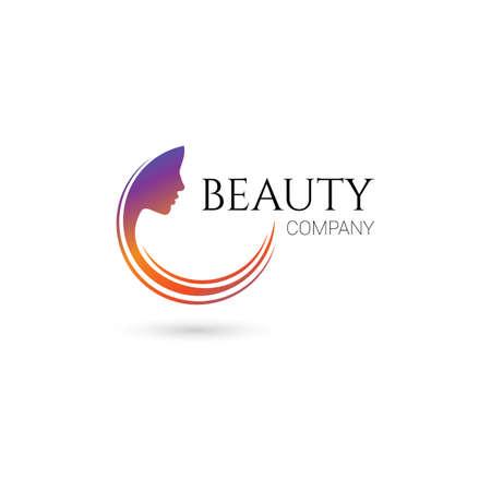 skönhet: Logotyp för skönhetssalong, företag med kvinnligt ansikte och hår