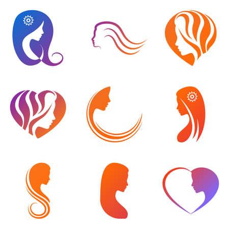 Set gekleurde elementen voor logo, schoonheidssalon, bedrijf met een vrouwelijk gezicht, haar, hart op witte achtergrond