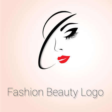 face make up: Fashion and Beauty Logo. Womans face with Hat