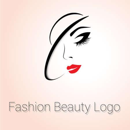 Moda y Belleza Logo. Womans cara con el sombrero Foto de archivo - 45334870