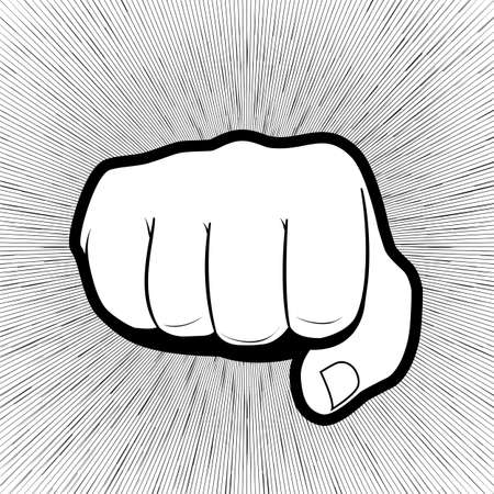intimidation: Punching hand with a clenched fist aimed directly at the viewer  isolated on grey