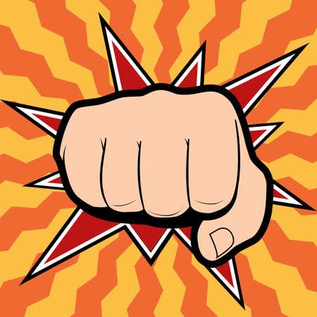 puÑos: Perforación mano con el puño cerrado dirigido directamente al espectador aislado en el fondo de color Vectores