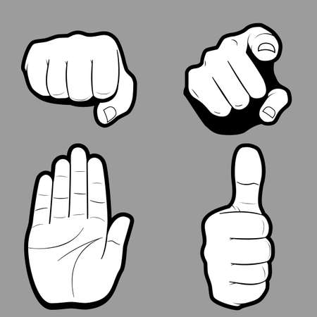 Pleading: Flat design icon set of hands in many and different gesture on grey. Vector illustration. Illustration