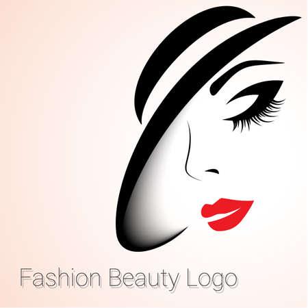 패션과 뷰티 로고. 큰 변형. 여자는 모자로 얼굴