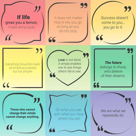 citing: Set of citation text boxes, in quotes with different frames. Vector Illustration