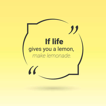 feedback sticker: Citation in text box, frame with quotes on yellow background. Vector
