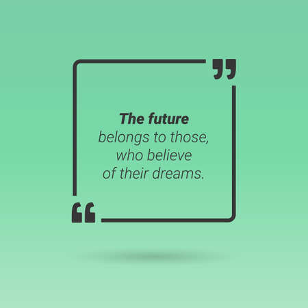frame  box: Citation in text box, frame with quotes on green background. Vector Illustration
