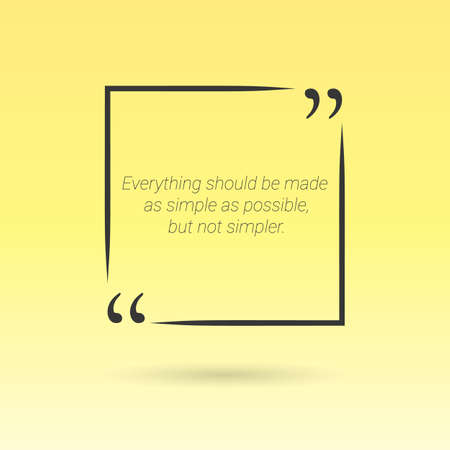 citation: Citation in text box, frame with quotes on yellow background. Vector