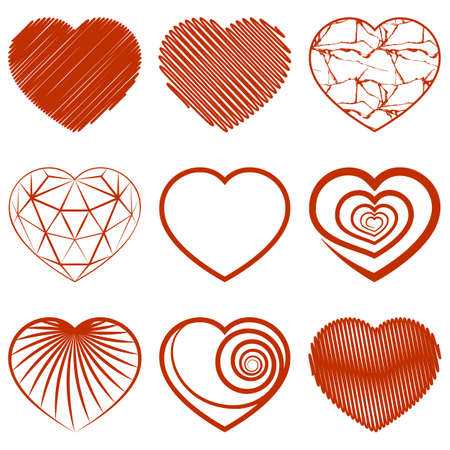 valentine: Set of red heart shapes icons on white background. Vector