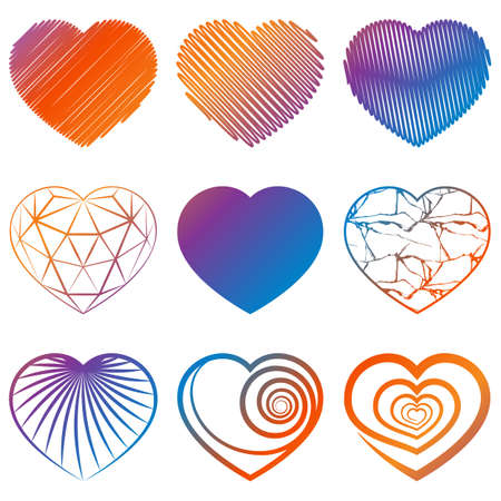 abstract pattern: Set of colored heart shapes icons on white background. Vector