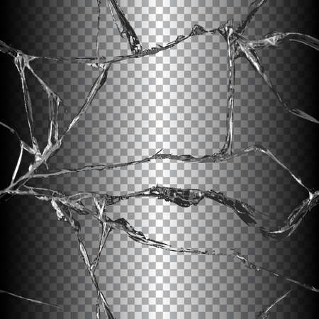 damaged: Realistic transparent broken glass seamless black background vector illustration
