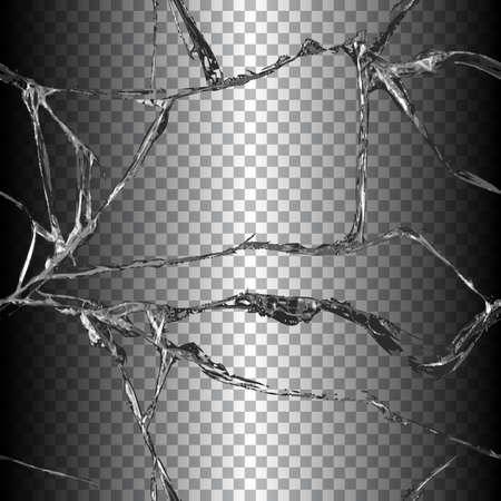finestra: Realistico trasparente vetro rotto senza soluzione di continuità sfondo nero illustrazione vettoriale Vettoriali