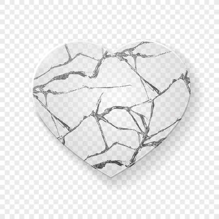 Illustration of broken heart made from glass on transparent background. Vector Vettoriali