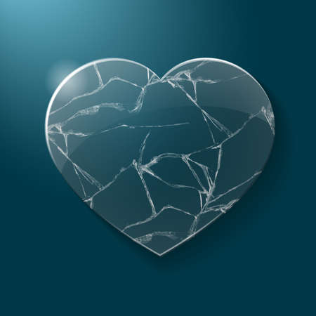 Illustration of broken heart made from glass on blue background. Vector