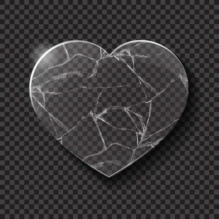glass break: Illustration of broken heart made from glass on dark background. Vector